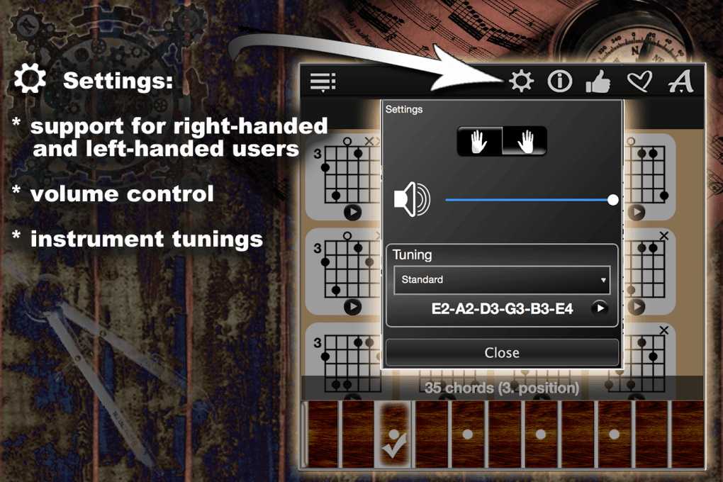Settings: support for right-handed, left-handed users, volume control, instrument tunings