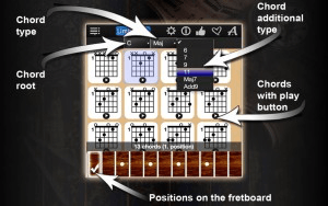 Chord type, Chord root, Chord additional type, Chords with play button, Positions on the fretboard,