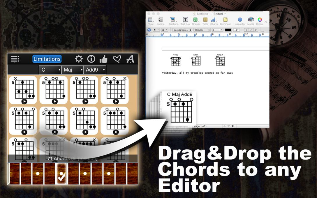 Drag&Drop the chords to any Editor.