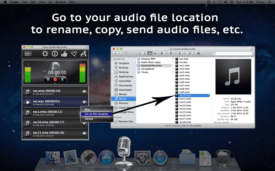 Go to your audio file location  to rename, copy, send audio files, etc.
