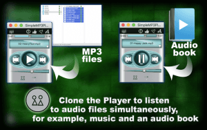 Clone the Player to listen to audio files simultaneously, for example, music and an audio book