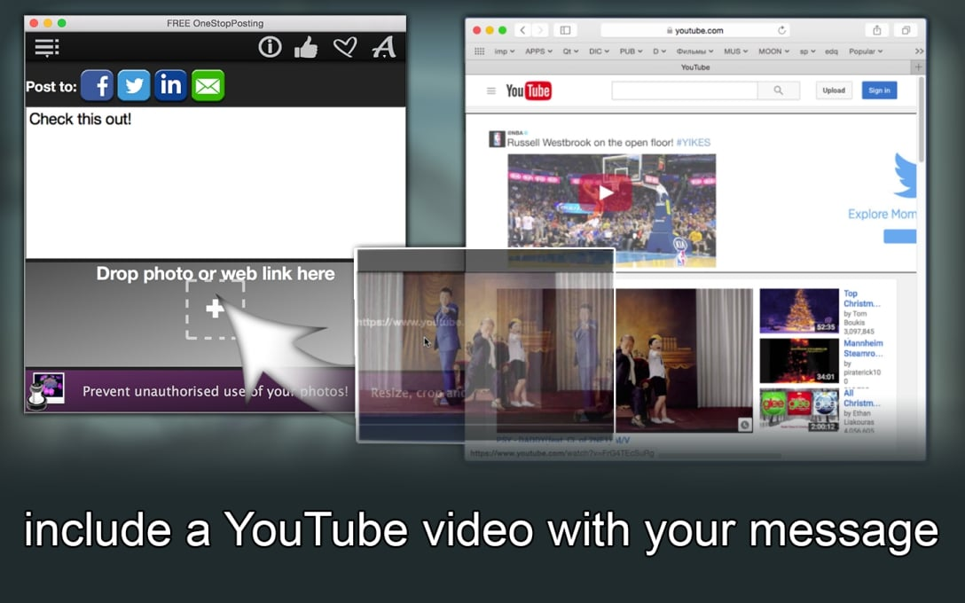 include a YouTube video with  your message