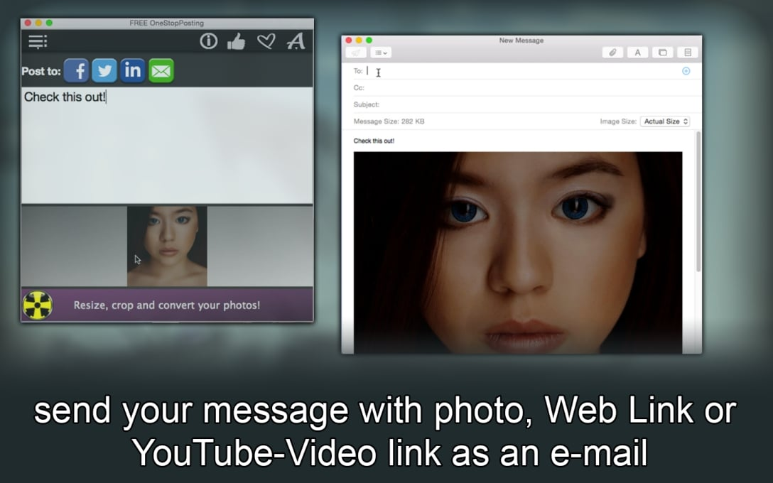 send your message with photo, Web Link or  YouTube-Video link as an e-mail